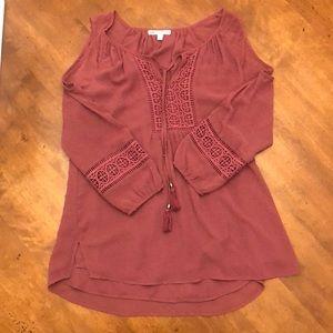 DR2 maroon shoulder cut out  blouse